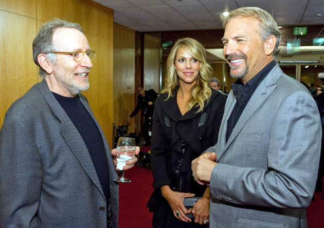 Kevin Costner and wife Christine Baumgartner + Field of Dreams director Phil Alden Robinson also known for Sneakers
