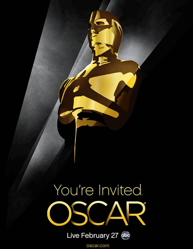 Oscar poster: searchlights evoking Academy Awards' iconic symbols
