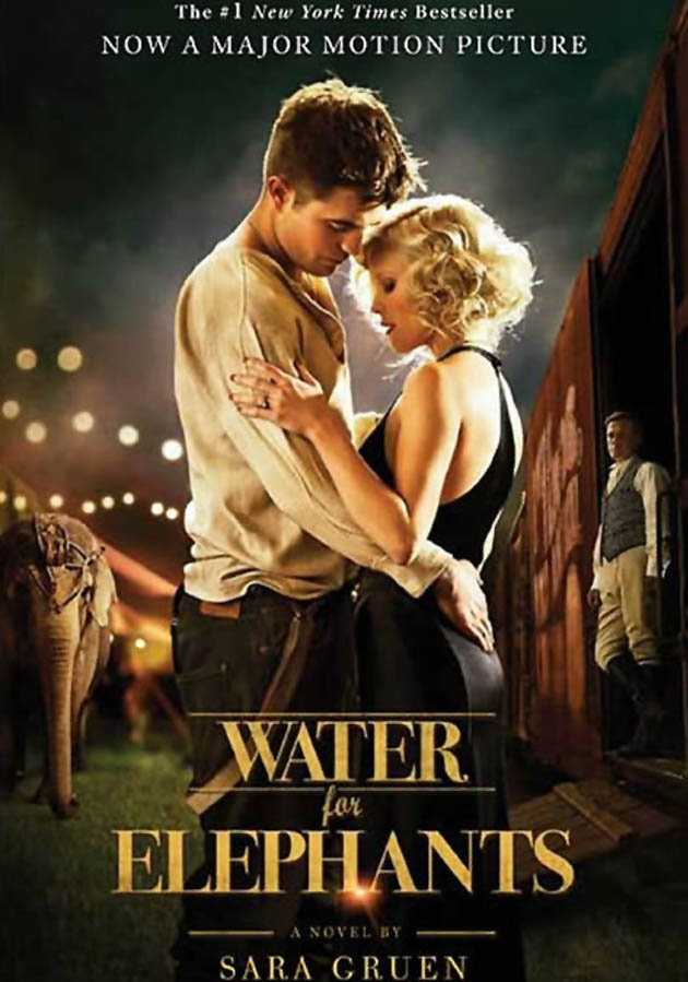 Water for Elephants book cover Robert Pattinson Reese Witherspoon Great Depression circus drama