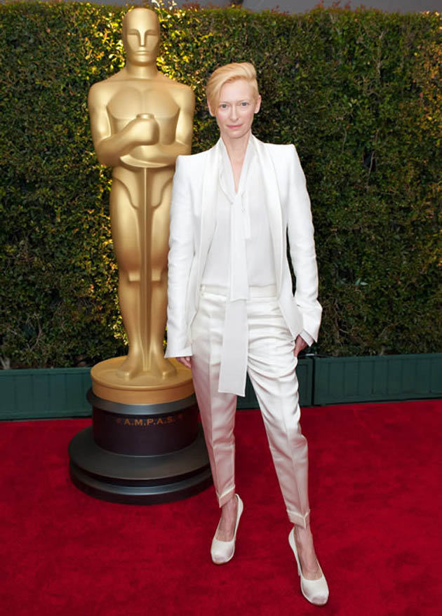 Tilda Swinton Red Carpet fashion statement Oscar reminder
