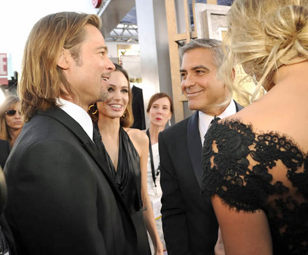 Brad Pitt Angelina Jolie George Clooney Stacy Keibler upper back mingling