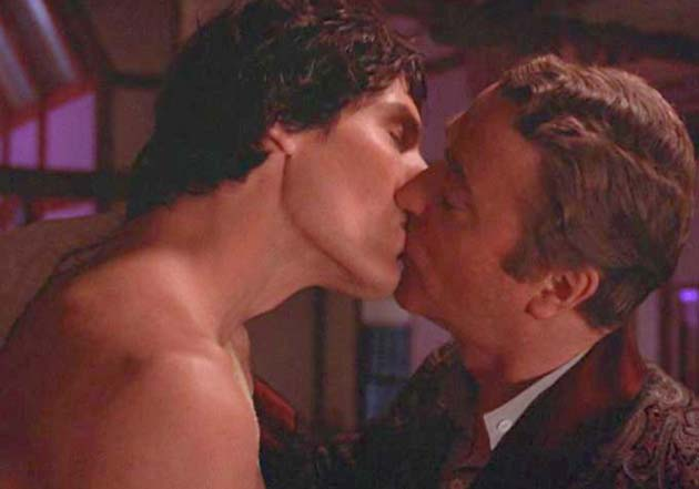 Michael Caine gay kiss Christopher Reeve