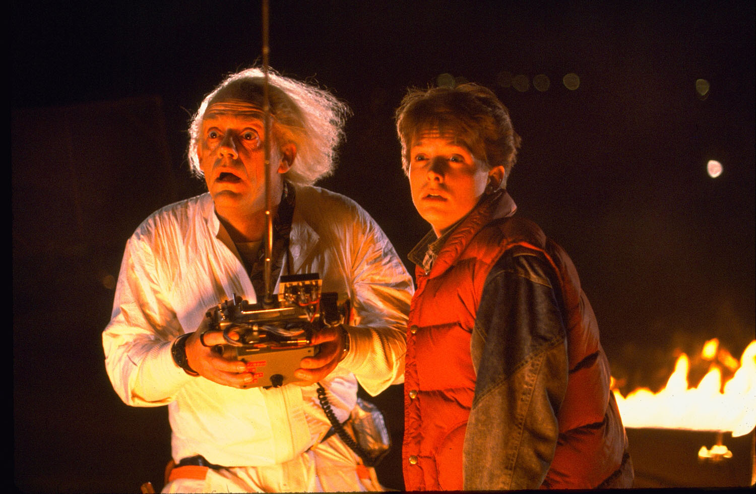 Michael J. Fox, Christopher Lloyd in Back to the Future