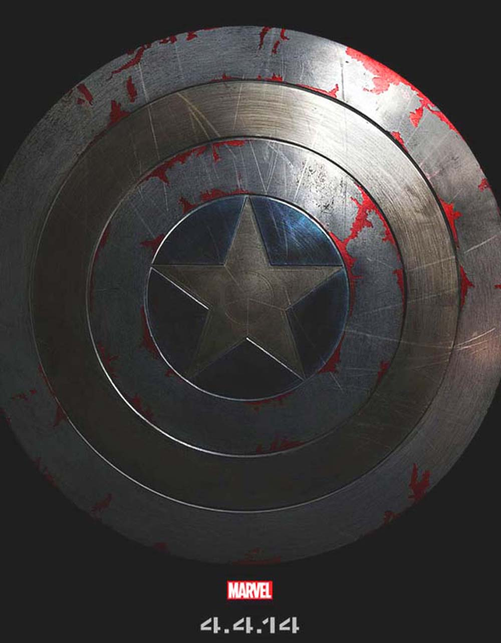 Captain America The Winter Soldier Poster Red Stained Shield