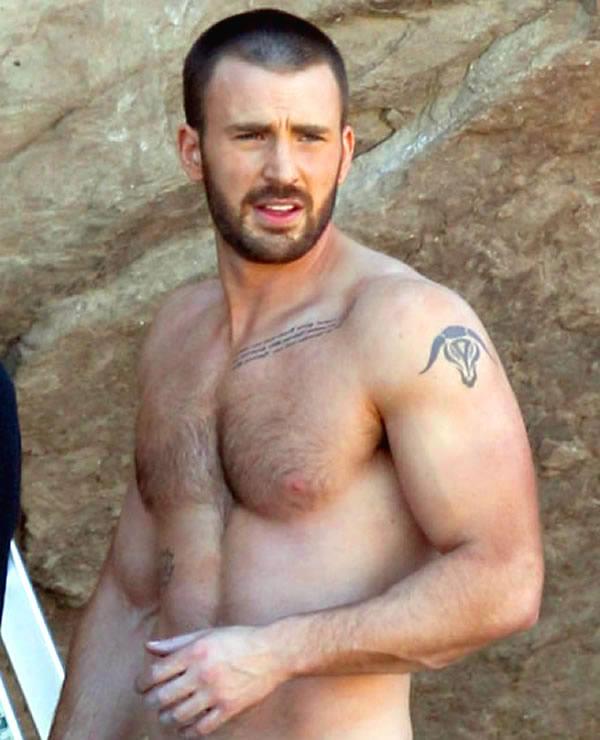 Chris Evans shirtless sexy tattoo