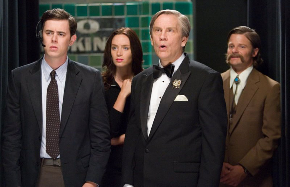 Colin Hanks, Emily Blunt, John Malkovich in The Great Buck Howard