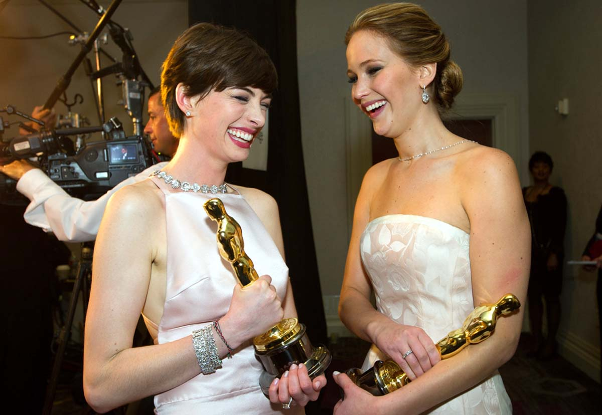 Jennifer Lawrence Anne Hathaway Oscar winners