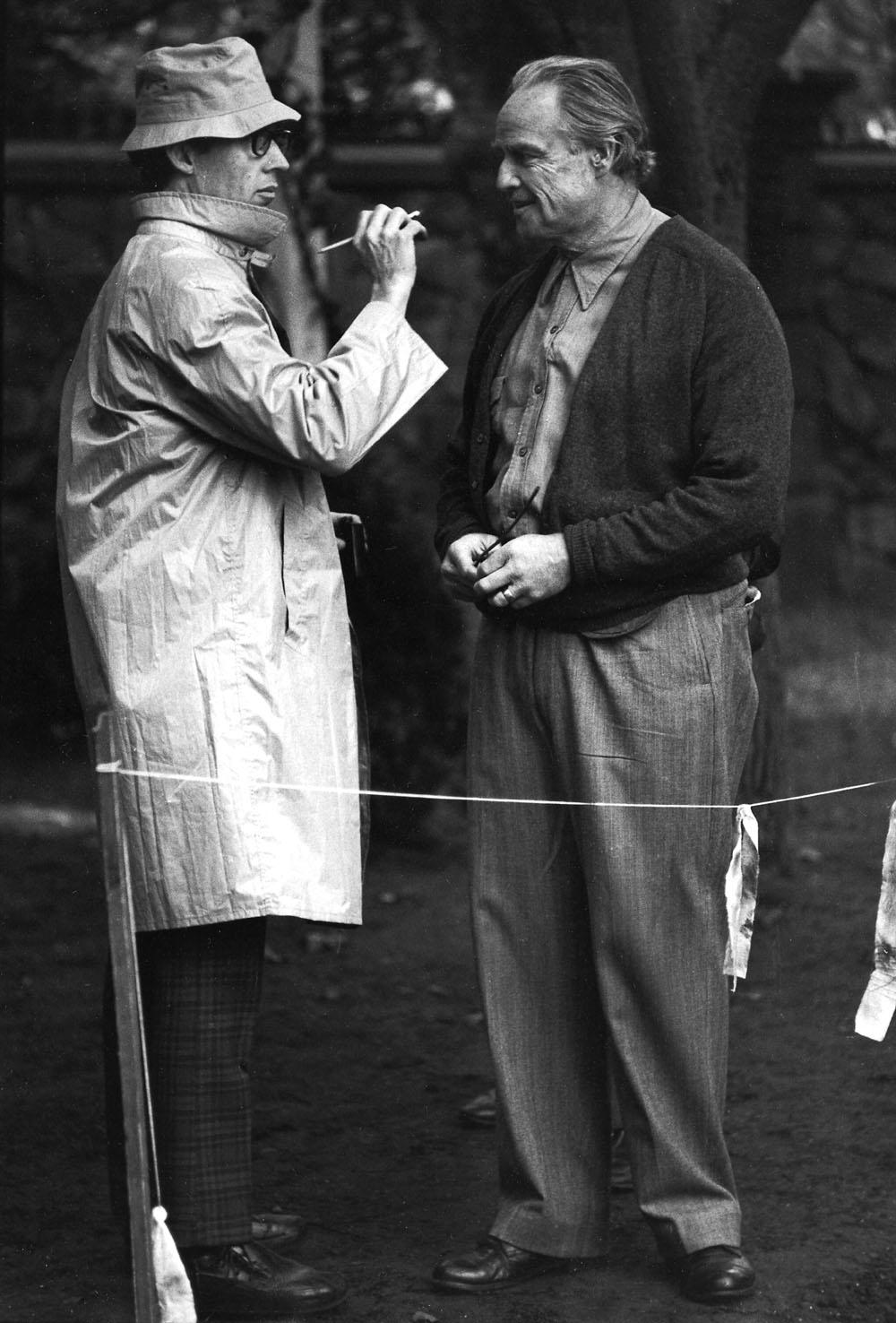 Dick Smith, Marlon Brando on The Godfather set