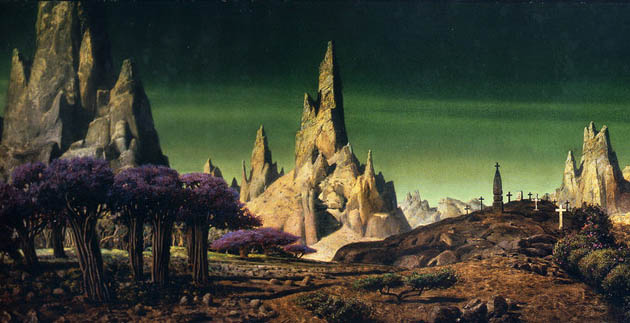 Matte painting Forbidden Planet: 1956 sci-fi classic inspired by Shakespeare's The Tempest