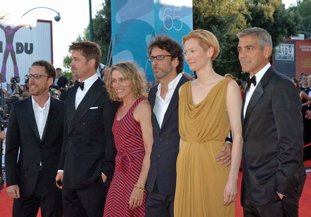 Brad Pitt George Clooney Frances McDormand Joel and Ethan Coen Tilda Swinton