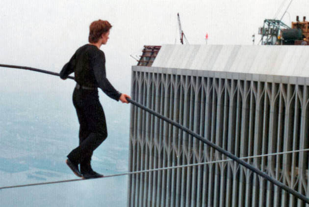 Man on Wire Philippe Petit. Is that David Bowie? No that's critics Best Documentary