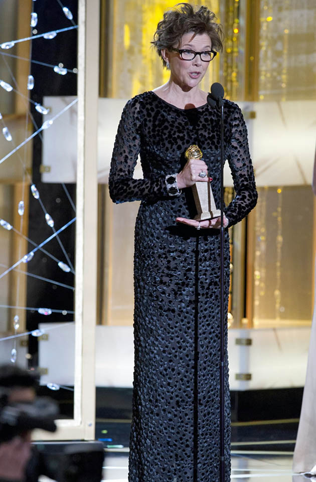 Annette Bening hairdo Golden Globes Best Actress