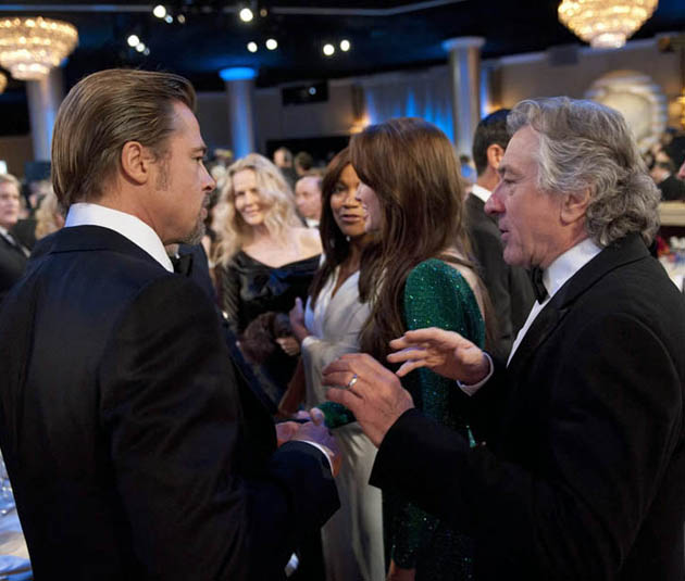 Brad Pitt Robert De Niro Golden Globes mingling Angelina Jolie between