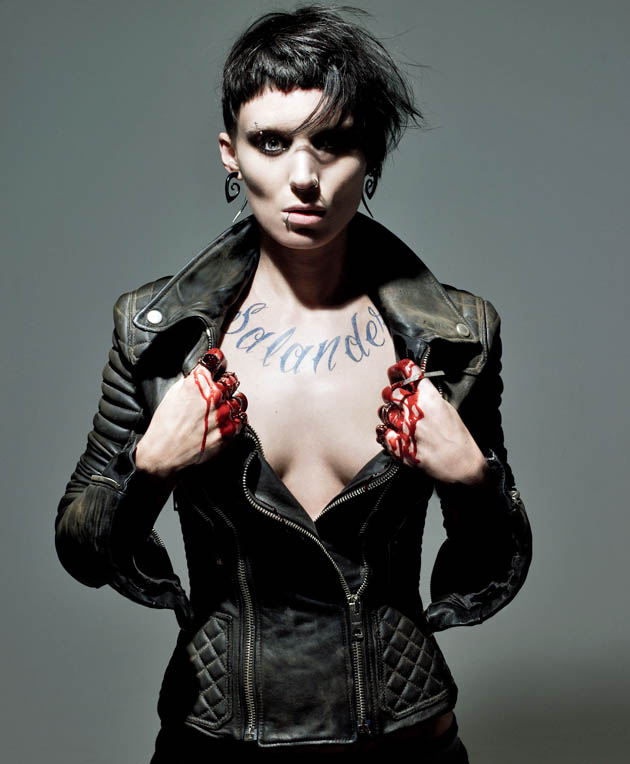 Rooney Mara Lisbeth Salander R-rated cleavage and bleached cropped pierced suffering