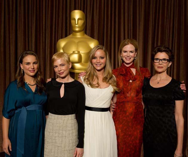 Best Actress Oscar nominees group photo Natalie Portman Jennifer Lawrence