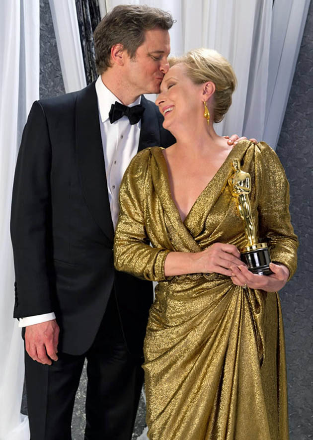 Meryl Streep kissed by Colin Firth Best Actor winner