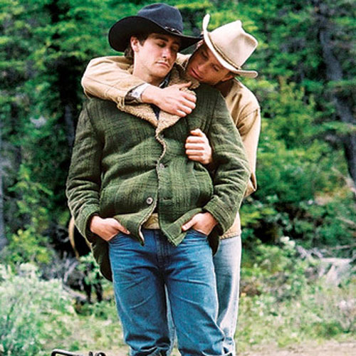 Jake Gyllenhaal, Heath Ledger hugging Brokeback Mountain