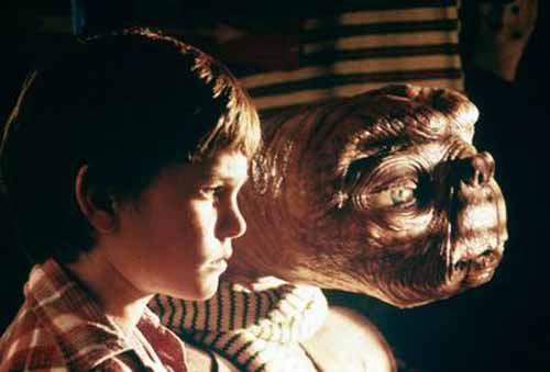 Henry Thomas and ET in ET: The Extra Terrestrial