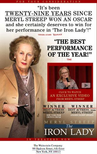 Meryl Streep The Iron Lady Oscar ad