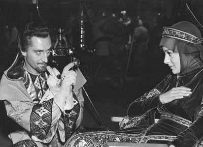 Basil Rathbone, Olivia de Havilland - The Adventures of Robin Hood set