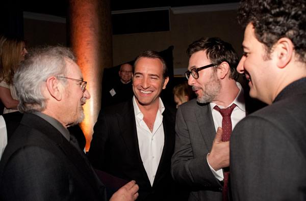 Steven Spielberg, Jean Dujardin, Michel Hazanavicius, Ludovic Bource